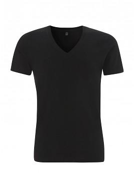 Pánské tričko s krátkými rukávy a výstřihem do V z 100% biobavlny - černá
