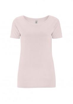 Dámské tričko s velkým výstřihem ze 100% biobavlny - světle růžová light pink