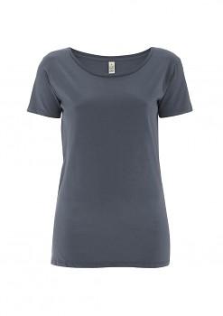 Dámské tričko s velkým výstřihem ze 100% biobavlny - šedá light charcoal