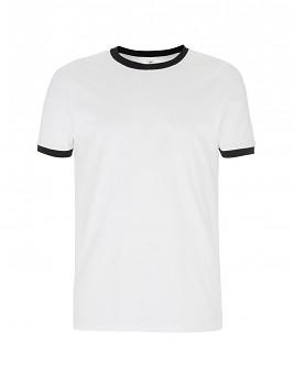 Pánské/unisex  tričko s krátkými rukávy ze 100% biobavlny - bílá/černá