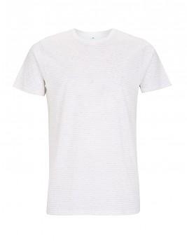 Pánské/unisex pruhované tričko s krátkými rukávy ze 100% biobavlny - bílá/bílá melange