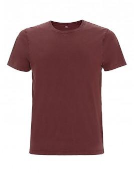 Pánské/unisex tričko s krátkými rukávy ze 100% biobavlny - fialová stone wash burgundy