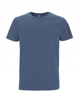 Pánské/unisex tričko s krátkými rukávy ze 100% biobavlny - modrá denim melange