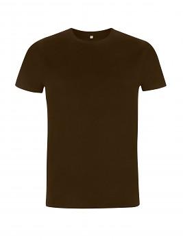 Pánské/unisex tričko s krátkými rukávy ze 100% biobavlny - tmavě hnědá