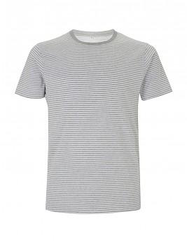Pánské/unisex pruhované tričko s krátkými rukávy ze 100% biobavlny - bílá/šedá melange