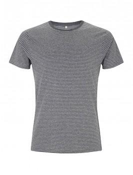 Pánské/unisex pruhované tričko s krátkými rukávy ze 100% biobavlny - černá marl/šedá dark heather