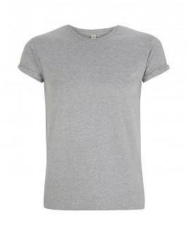 Pánské tričko s krátkými zahnutými rukávy ze 100% biobavlny - šedá melange