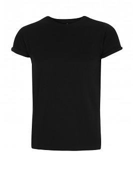 Pánské tričko s krátkými zahnutými rukávy ze 100% biobavlny - černá