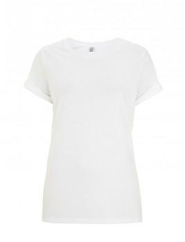 Dámské tričko s krátkým zahnutým rukávem ze 100% biobavlny - bílá
