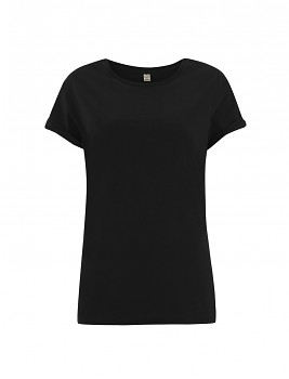 Dámské tričko s krátkým zahnutým rukávem ze 100% biobavlny - černá