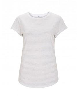 Dámské pruhované tričko s krátkým zahnutým rukávem ze 100% biobavlny - bílá/bílá melange
