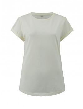 Dámské tričko s krátkým zahnutým rukávem ze 100% biobavlny - přírodní ecru