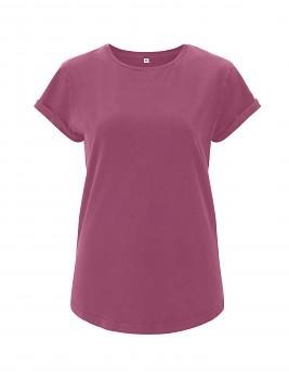 Dámské tričko s krátkým zahnutým rukávem ze 100% biobavlny - fialová berry