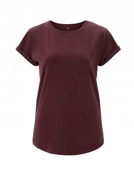 Dámské tričko s krátkým zahnutým rukávem ze 100% biobavlny - fialová stone wash burgundy