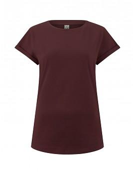 Dámské tričko s krátkým zahnutým rukávem ze 100% biobavlny - fialová burgundy