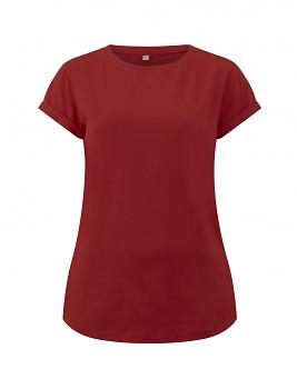 Dámské tričko s krátkým zahnutým rukávem ze 100% biobavlny - červená