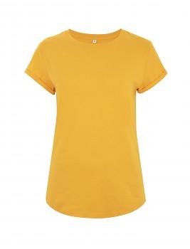 Dámské tričko s krátkým zahnutým rukávem ze 100% biobavlny - žlutá gold