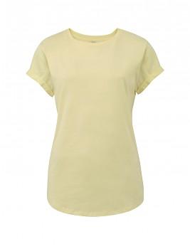 Dámské tričko s krátkým zahnutým rukávem ze 100% biobavlny - světle žlutá pale lemon