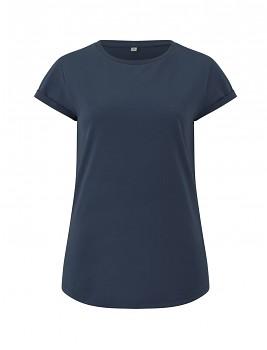 Dámské tričko s krátkým zahnutým rukávem ze 100% biobavlny - modrá denim