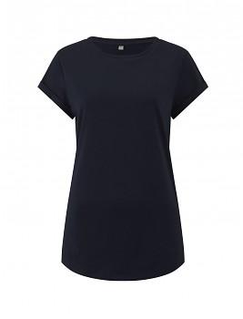 Dámské tričko s krátkým zahnutým rukávem ze 100% biobavlny - tmavě modrá navy