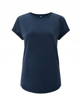 Dámské tričko s krátkým zahnutým rukávem ze 100% biobavlny - modrá stone wash denim