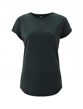 Dámské tričko s krátkým zahnutým rukávem ze 100% biobavlny - zelená stone wash