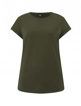Dámské tričko s krátkým zahnutým rukávem ze 100% biobavlny - zelená moss