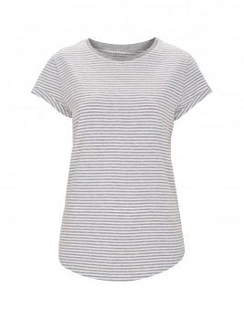 Dámské pruhované tričko s krátkým zahnutým rukávem ze 100% biobavlny - bílá/šedá melange