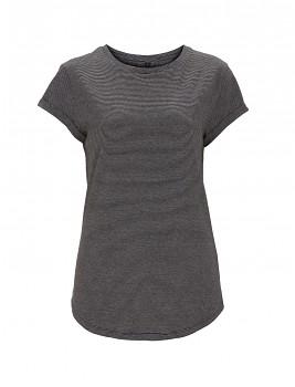Dámské pruhované tričko s krátkým zahnutým rukávem ze 100% biobavlny - bílá/černá pin