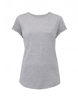 Dámské tričko s krátkým zahnutým rukávem ze 100% biobavlny - bílá marl