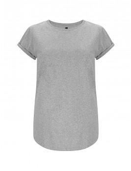 Dámské tričko s krátkým zahnutým rukávem ze 100% biobavlny - šedá melange
