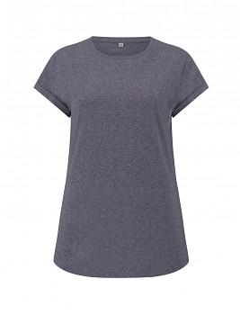 Dámské tričko s krátkým zahnutým rukávem ze 100% biobavlny - šedočervená wine twist