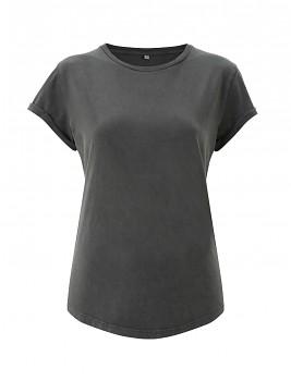 Dámské tričko s krátkým zahnutým rukávem ze 100% biobavlny - šedá stone wash