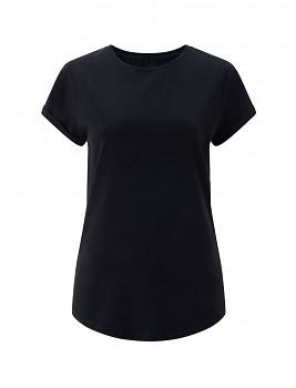 Dámské tričko s krátkým zahnutým rukávem ze 100% biobavlny - černá stone wash