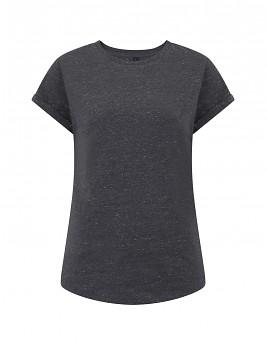 Dámské tričko s krátkým zahnutým rukávem ze 100% biobavlny - černá twist