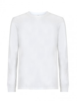 Pánské/unisex tričko s dlouhými rukávy ze 100% biobavlny - bílá