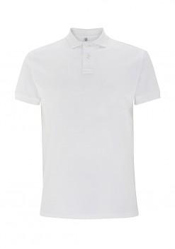 Pánské košilové tričko s límečkem ze 100% biobavlny - bílá