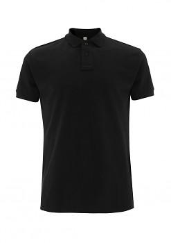 Pánské košilové tričko s límečkem ze 100% biobavlny - černá