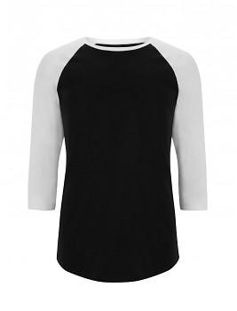 Pánské/unisex baseballové tričko s 3/4 rukávy ze 100% biobavlny - černá/ bílá trim