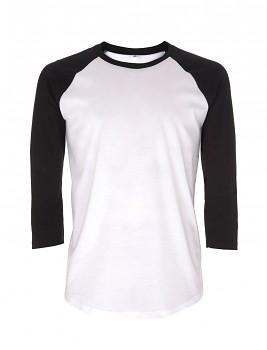 Pánské/unisex baseballové tričko s 3/4 rukávy ze 100% biobavlny - bílá/ černá
