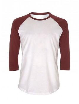 Pánské/unisex baseballové tričko s 3/4 rukávy ze 100% biobavlny - bílá/ fialová burgundy