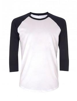 Pánské/unisex baseballové tričko s 3/4 rukávy ze 100% biobavlny - bílá/ tmavě modrá navy