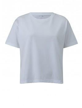 Dámské krátké volné tričko s krátkými rukávy ze 100% biobavlny - bílá