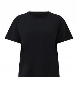 Dámské krátké volné tričko s krátkými rukávy ze 100% biobavlny - černá