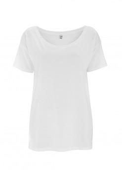 Dámské oversized tričko s krátkým rukávem z tencelu a biobavlny - bílá