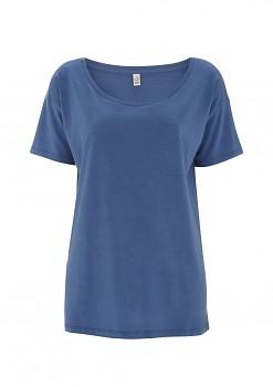 Dámské oversized tričko s krátkým rukávem z tencelu a biobavlny - modrá faded denim
