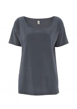 Dámské oversized tričko s krátkým rukávem z tencelu a biobavlny - šedá light charcoal