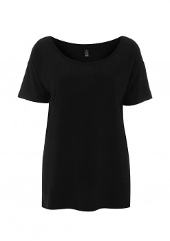Dámské oversized tričko s krátkým rukávem z tencelu a biobavlny - černá