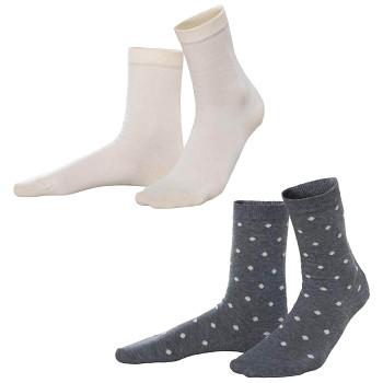 BETTINA dámské ponožky z biobavlny - žlutá/šedá (2 páry)