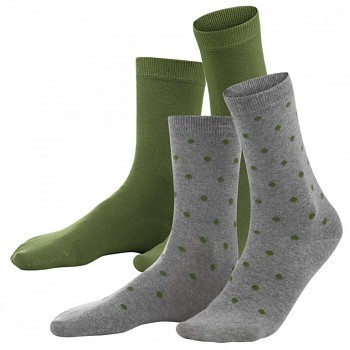 BETTINA dámské ponožky z biobavlny - zelená/šedá (2 páry)